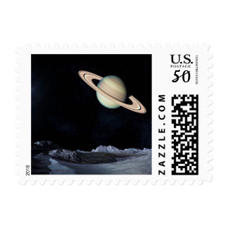 A LUNAR VIEW (saturn outer space) ~.jpg Postage