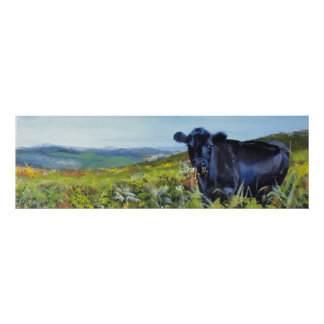 'A lunch interrupted' cow landscape painting Posters