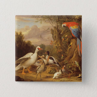 A Macaw, Ducks, Parrots and Other Birds in a Lands Pinback Button