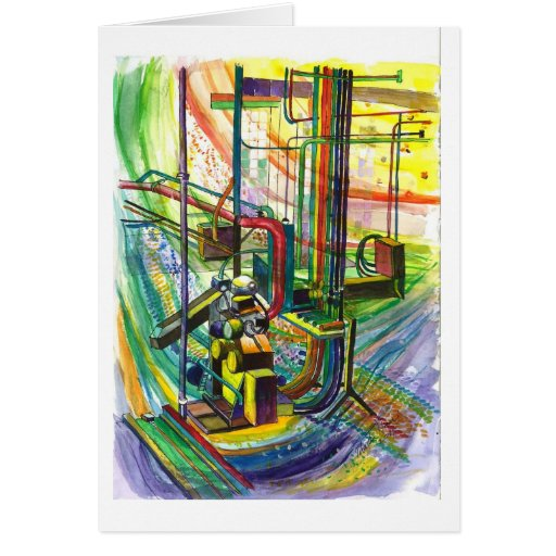 A machine in abstract greeting cards