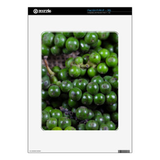 A macro photo of green pepper berries. decals for iPad