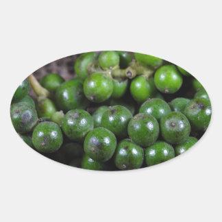 A macro photo of green pepper berries. oval sticker