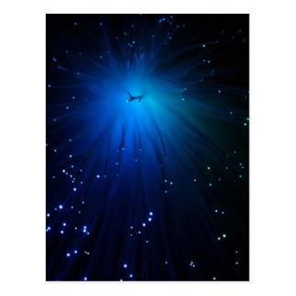 A macro photo of illuminated optical fibers. postcard