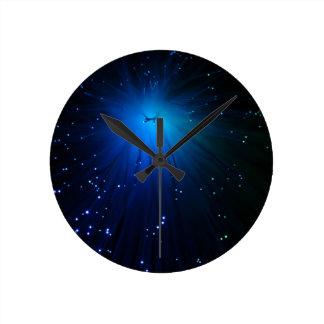 A macro photo of illuminated optical fibers. round clock