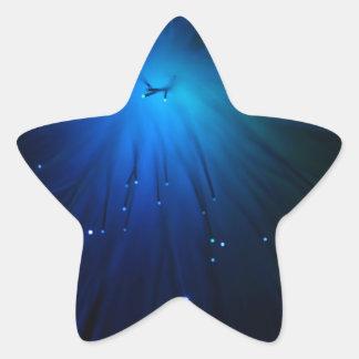 A macro photo of illuminated optical fibers. star sticker