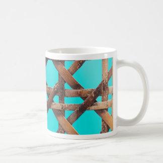 A macro photo of old wooden basketwork. coffee mug