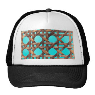 A macro photo of old wooden basketwork. trucker hat