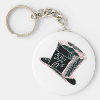 A Mad Hatter Hat in Black with Pink Tint Keychain