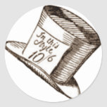 A Mad Hatter Hat in Sepia Classic Round Sticker