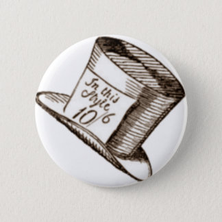 A Mad Hatter Hat in Sepia Pinback Button