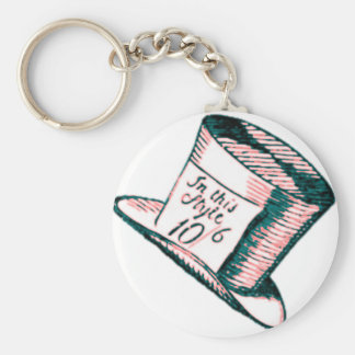 A Mad Hatter Hat with Pink Tint Keychain