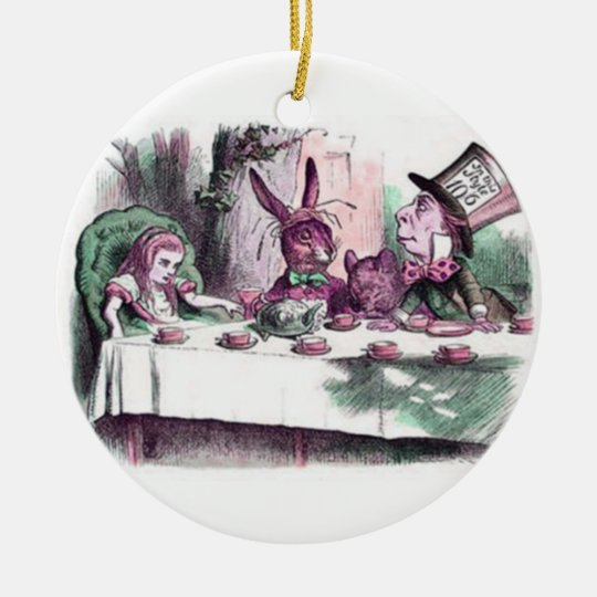 A Mad Tea Party Pastels Ceramic Ornament