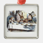 A Mad Tea Party Pastels Square Metal Christmas Ornament