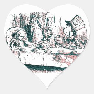 A Mad Tea Party Tenniel Pink Tint Heart Sticker