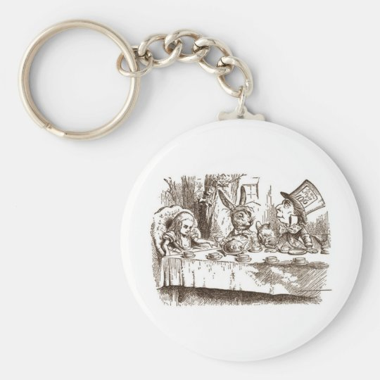 A Mad Tea Party Tenniel Sepia Keychain