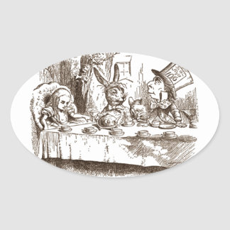A Mad Tea Party Tenniel Sepia Oval Sticker