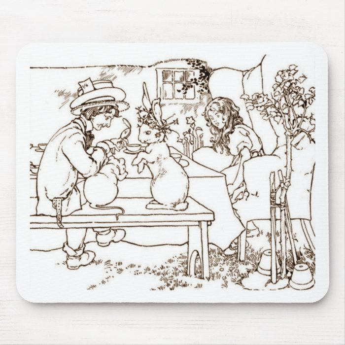 A Mad Tea Party Vintage Illustration Mouse Pad