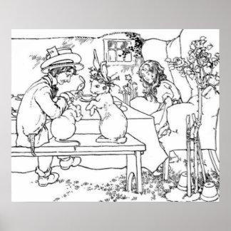 A Mad Tea Party Vintage Illustration Print