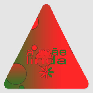 A Mãe Linda Portugal Flag Colors Pop Art Triangle Sticker