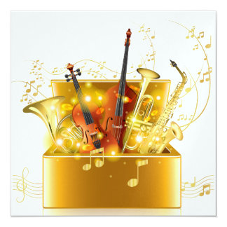A Magical Night Gold Music Instruments Invitation
