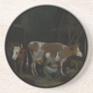 A Maid Milking a Cow in a Barn Beverage Coaster