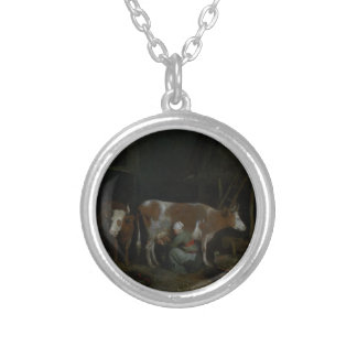 A Maid Milking a Cow in a Barn Custom Jewelry