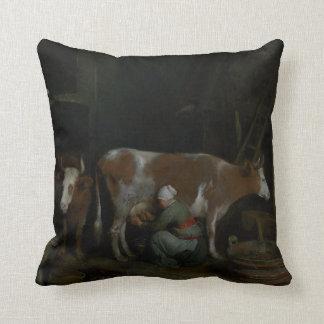 A Maid Milking a Cow in a Barn Throw Pillow