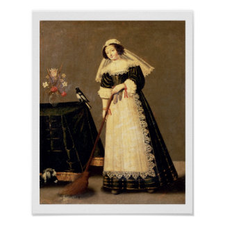 A Maid with a Broom Poster