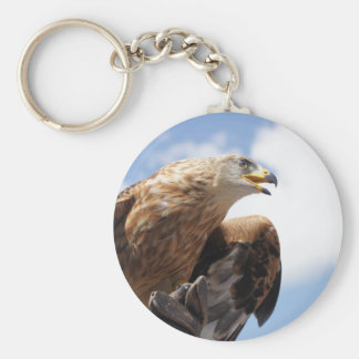 A majestic golden eagle keychain