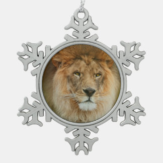 A Majestic lion Snowflake Pewter Christmas Ornament