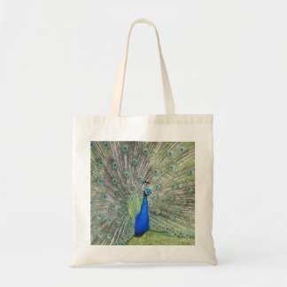 A Male Indian Peacock Fans it's tail Feathers Tote Bag
