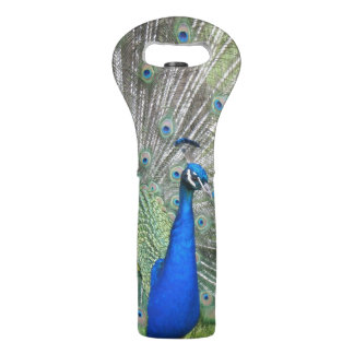 A Male Indian Peacock Fans it's tail Feathers Wine Bag