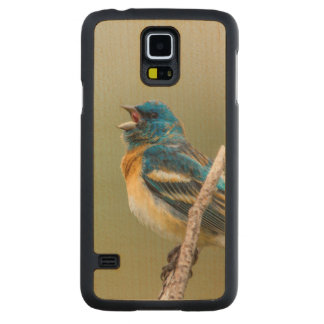 A Male Lazuli Bunting Songbird Singing Carved Maple Galaxy S5 Slim Case