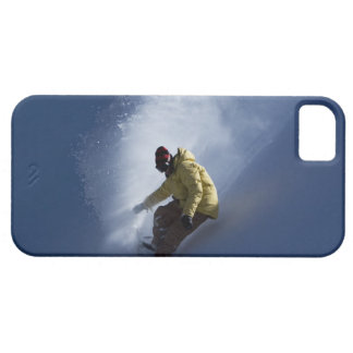 A male snowboarder catches last light on a iPhone 5 cover