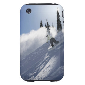A male snowboarder ripping powder in Idaho. Tough iPhone 3 Case