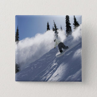 A male snowboarder ripping powder in Idaho. Pinback Button