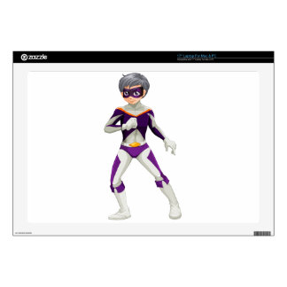 """A male superhero with a violet mask 17"""" laptop skin"""