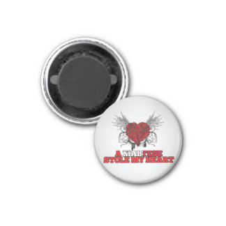 A Maltese Stole my Heart 1 Inch Round Magnet