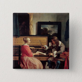 A Man and a Woman Seated by a Virginal, c.1665 Pinback Button