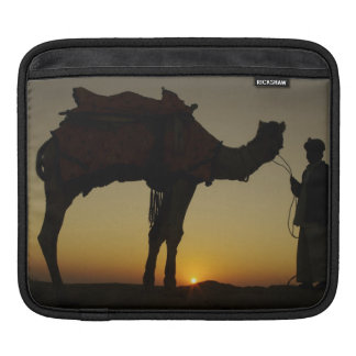a man and his camel Silhouetted at sunset on the iPad Sleeve