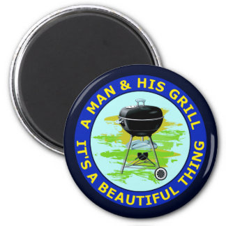 A MAN AND HIS GRILL MAGNET