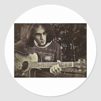 A man and his Guitar. Round Stickers
