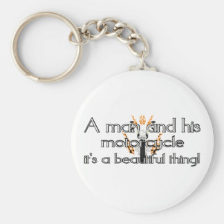 A man and his motorcycle basic round button keychain