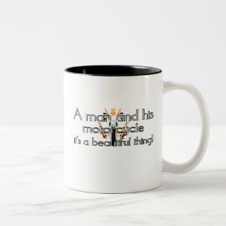 A man and his motorcycle Two-Tone coffee mug