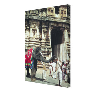 A man being blessed by an elephant canvas print