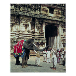 A man being blessed by an elephant poster
