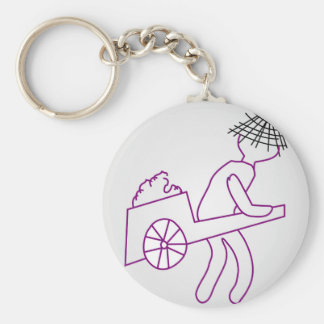 A man carrying goods basic round button keychain