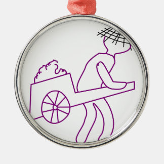 A man carrying goods round metal christmas ornament