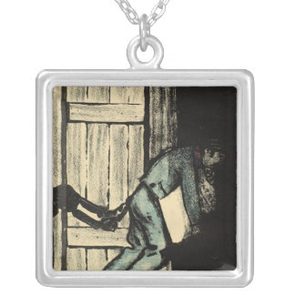 A man caught putting up political posters silver plated necklace