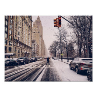 A Man Crossing A Snowy Central Park West Poster